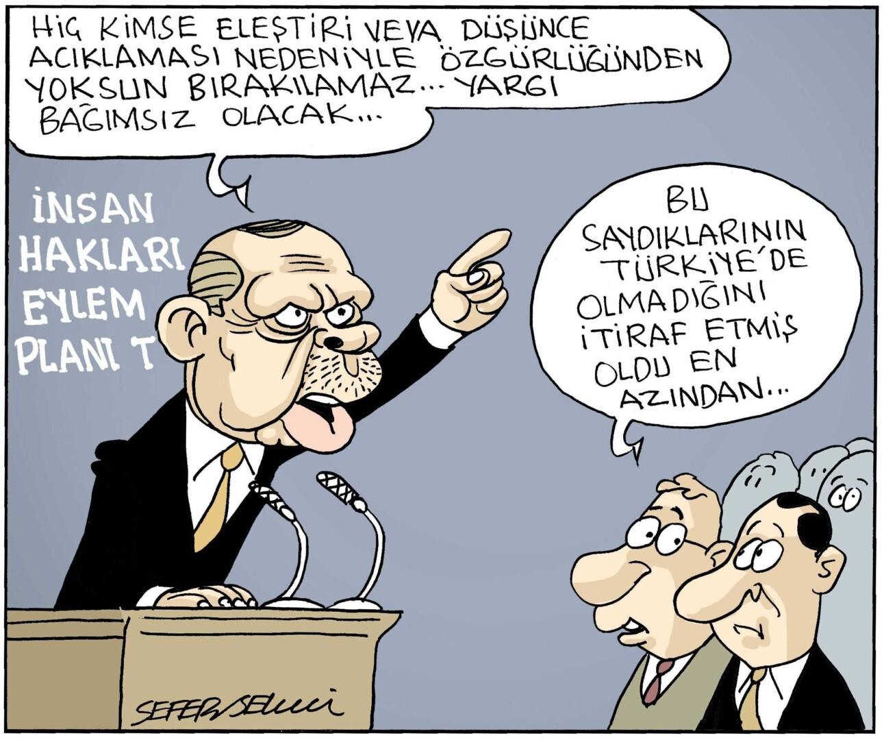 Erdoğan'ın insan hakları planı, Türkiye'den özgürlüklerin yokluğunun kabulüdür